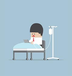 Sick businessman working hard in hospital bed vector
