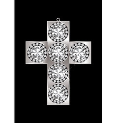 Silver crucifix pendant encrusted with diamonds an vector