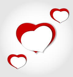 Hearts from paper valentines day car vector