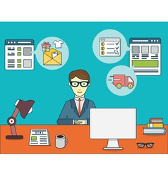 Online shopping for businessman vector