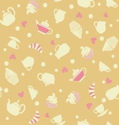 Cupcakes tea cups background vector