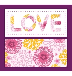 Pink field flowers love text frame pattern vector