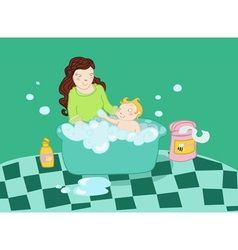 A baby take a bath with his mother vector