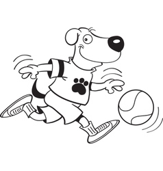Cartoon dog playing basketball vector