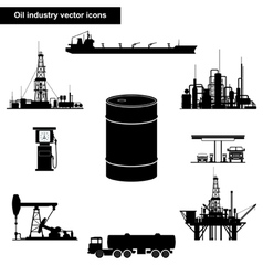 Oil and gas industry black icons vector