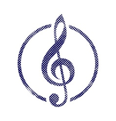 Treble clef icon with halftone dots print texture vector