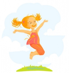 Cartoon jumping girl vector