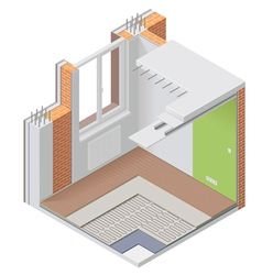 Isometric apartment cutaway icon vector