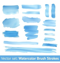 Set of blue watercolor brush stroke vector