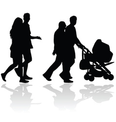 Couple people with baby stroller silhouette vector