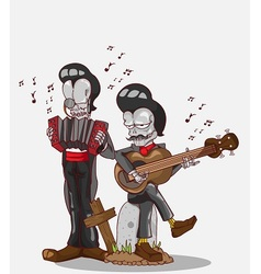 Two skeletons play accordion and guitar vector
