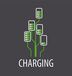 Logo battery chargers in a tree vector