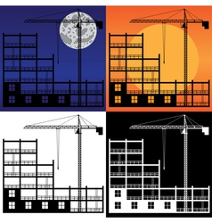 Lifting crane and building under construction vector