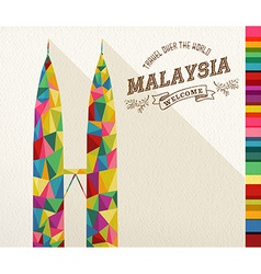 Travel malaysia landmark polygonal monument vector