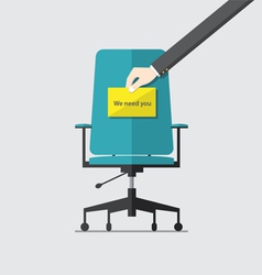 Business chair with we need you message vector