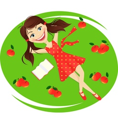 Enjoying under apple tree vector