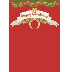 Red christmas card with horseshoe and holly berry vector