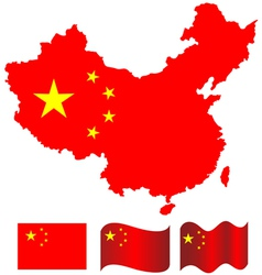 China map and flag of china vector