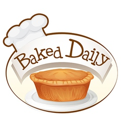 A baked daily label with a cupcake vector