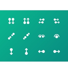 Simple touch pad gestures icons on green vector