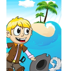 Pirate on desert island vector
