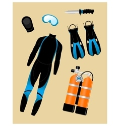 Diving equipment set vector