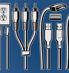 Cables and plugs vector