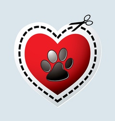 Red love heart with dogs paw vector