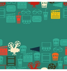 Seamless pattern of movie elements and cinema vector