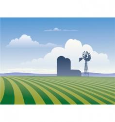 Farm with windmill vector