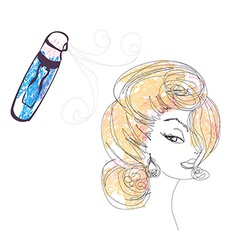 Hairdresser fixing woman hair with hairspray vector