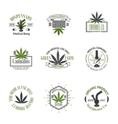 Set of medical marijuana logos cannabis badges vector