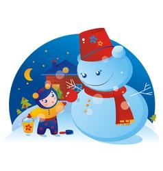 A little girl and snowman vector