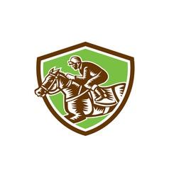 Jockey horse racing shield retro woodcut vector