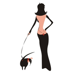 Lady with doggy vector