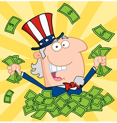Happy uncle sam playing in a pile of money vector