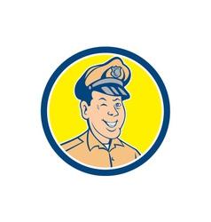 Policeman winking smiling circle cartoon vector