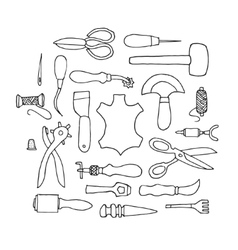 Hand drawn leather working tools vector