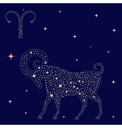 Zodiac sign aries on the starry sky vector