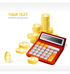 Coins stack and calculator vector