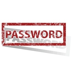 Password outlined stamp vector