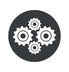 Monochrome round cogs icon vector
