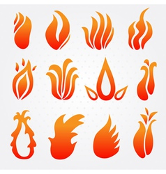 Fire flame icons set vector