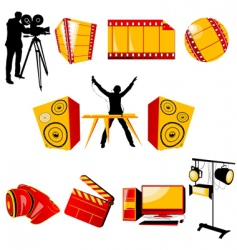 Video and music icons vector