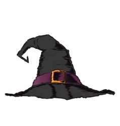 Black creepy witch hat with violet belt vector