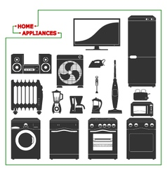 Scaled monochromatic home appliances vector