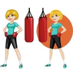 Cute young caucasian woman boxer vector
