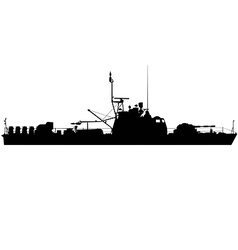 River gunboat silhouette vector