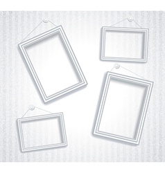 3d empty frame on the wall vintage background vector