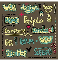 Set of hand draw lettering web design element vector